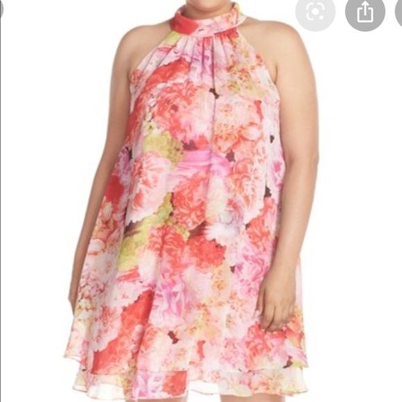Eliza J Dresses & Skirts - Eliza J Floral Chiffon Trapeze Halter Dress